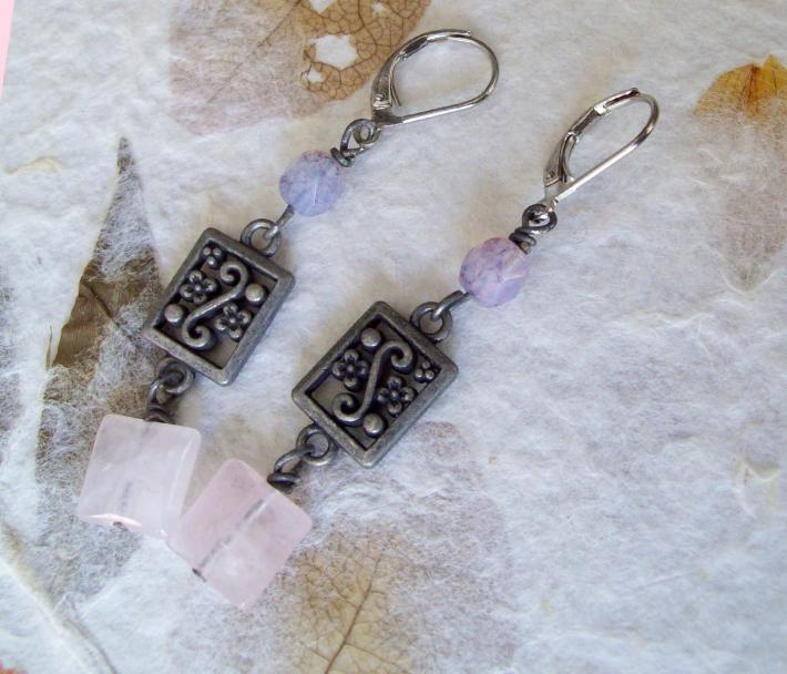 ARABESQUE – Square Rose Quartz earrings with Scrolled Floral gunmetal link and Lavender Picasso Czech glass