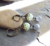 Faceted Moss Green Agate earrings with Labradorite dangles