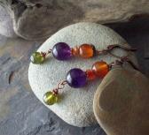 NINA Colorful Amethyst Carnelian and Green Garnet dangle earrings