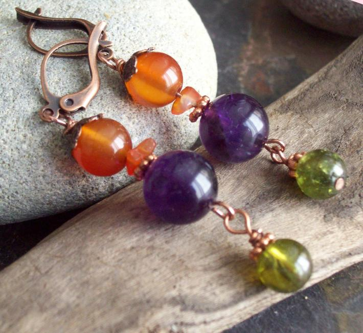 NINA Colorful Amethyst Carnelian and Green Garnet dangle earrings