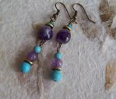 Aura Amethyst and Turquoise beaded dangle earrings