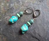 Zahra American Turquoise Nugget earrings with  Verde gris