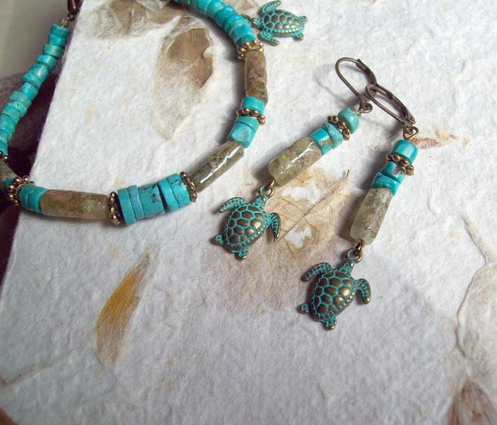 Sea Turtles Turquoise and Green Garnet charm bracelet and earrings with Brass Turtle charms