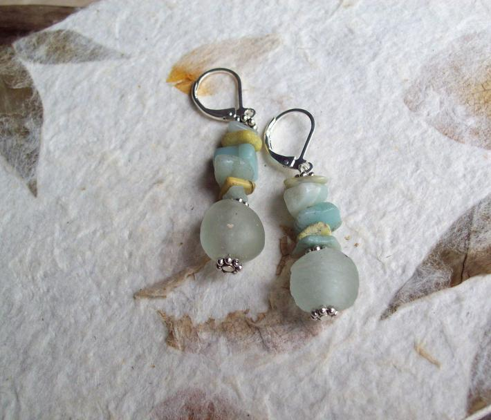 Seamist Blue African Recycled Powdered Glass beaded earrings