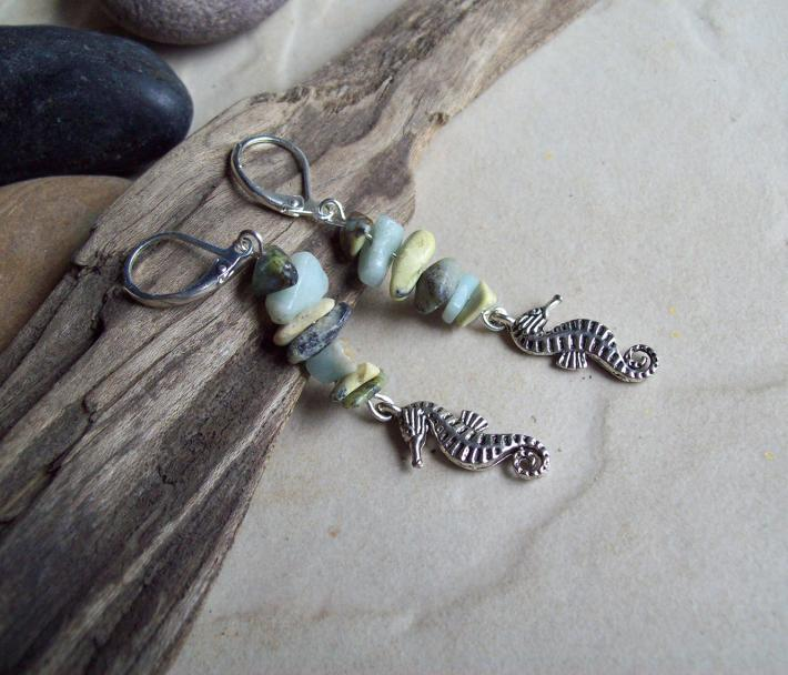 Seahorse Charm Aquamarine and African Turquoise dangle earrings
