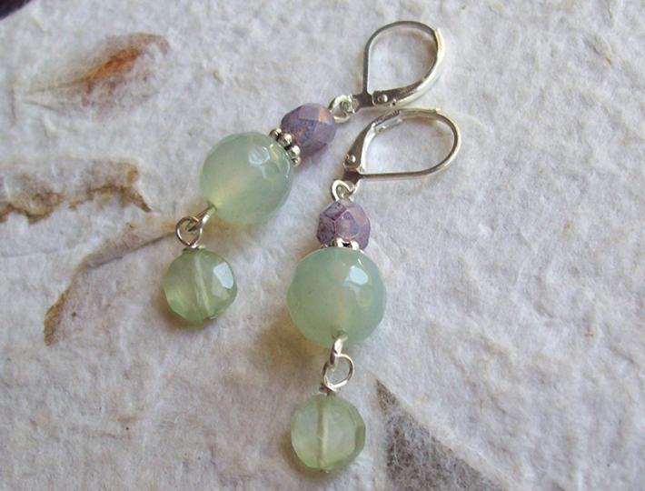 Raindrops Faceted Light green Prehnite dangle earrings with Czech glass