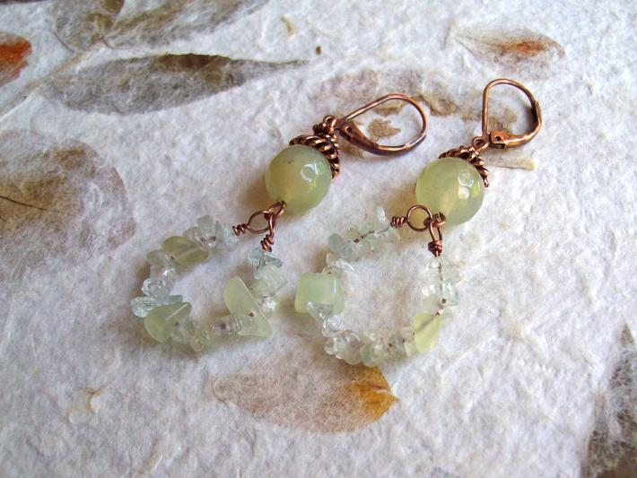 Daylily Pale Green Agate and natural Amazonite and Aquamarine