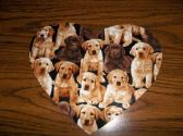 Computer Mouse Pad Chocolate and Yellow Lab Puppies Heart