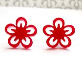 Sweet little red flowers stud earrings