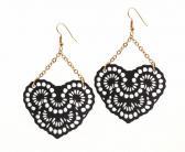 French Lace Romantic Heart Chandelier Earrings