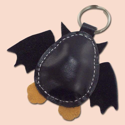 Cute little black bat leather animal keychain FREE shipping