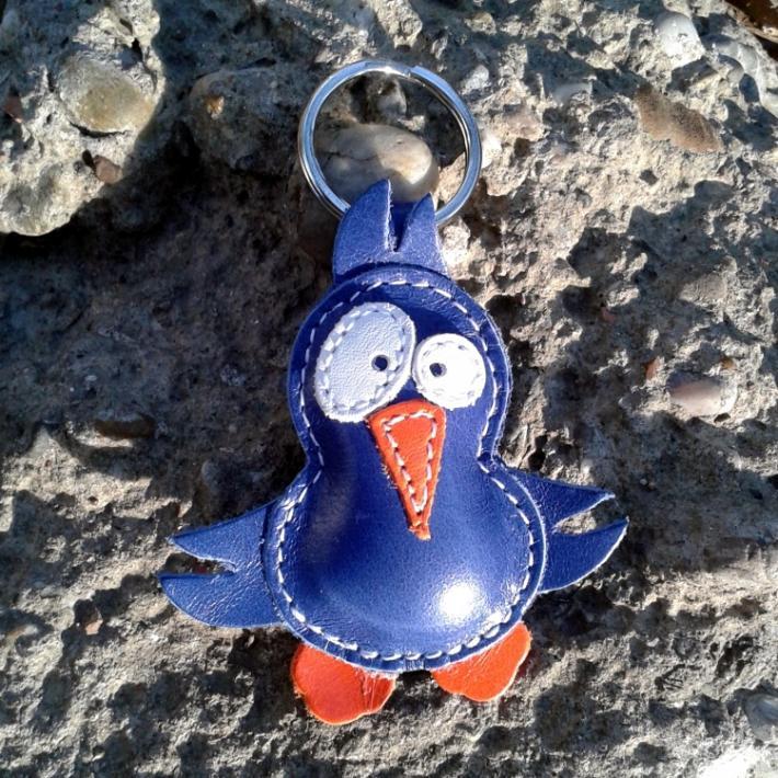 Cute Little Blue Bird Leather Animal Keychain FREE shipping