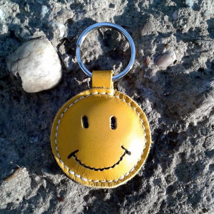 Smiley Face Happy Face Yellow Leather Keychain FREE Shipping