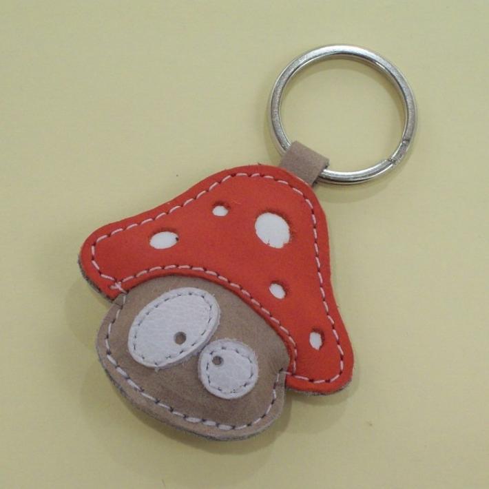 Handmade Cute Mushroom Leather Keychain FREE Shipping