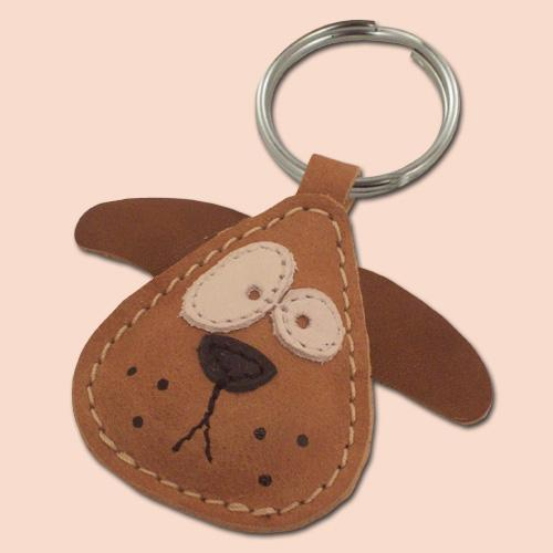 Chowder The Cute Little Dog Leather Animal Keychain
