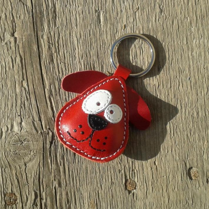 Red Dog Chowder Handmade Leather Keychain