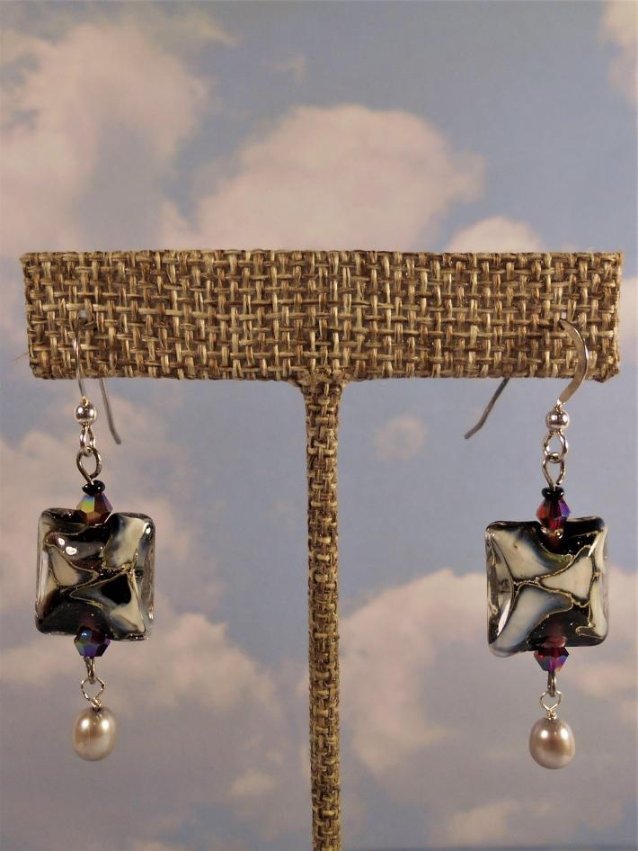 Black and Gold Lamp work glass earrings