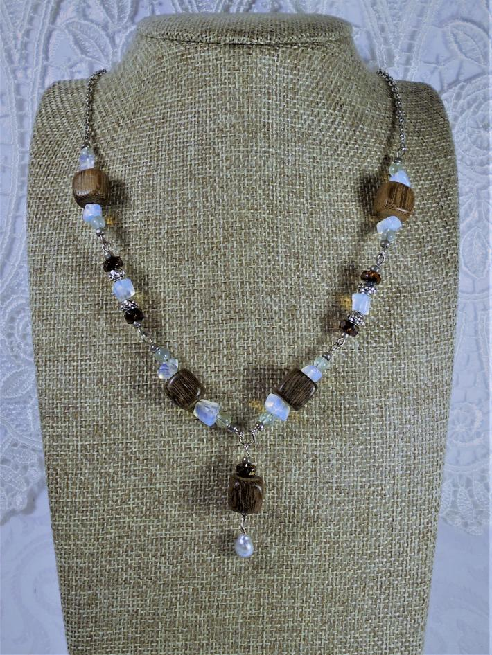 Wood and sea glass necklace