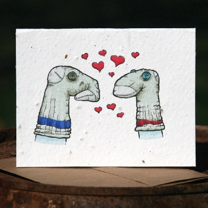 Plantable Greeting Card Sock Puppets in Love
