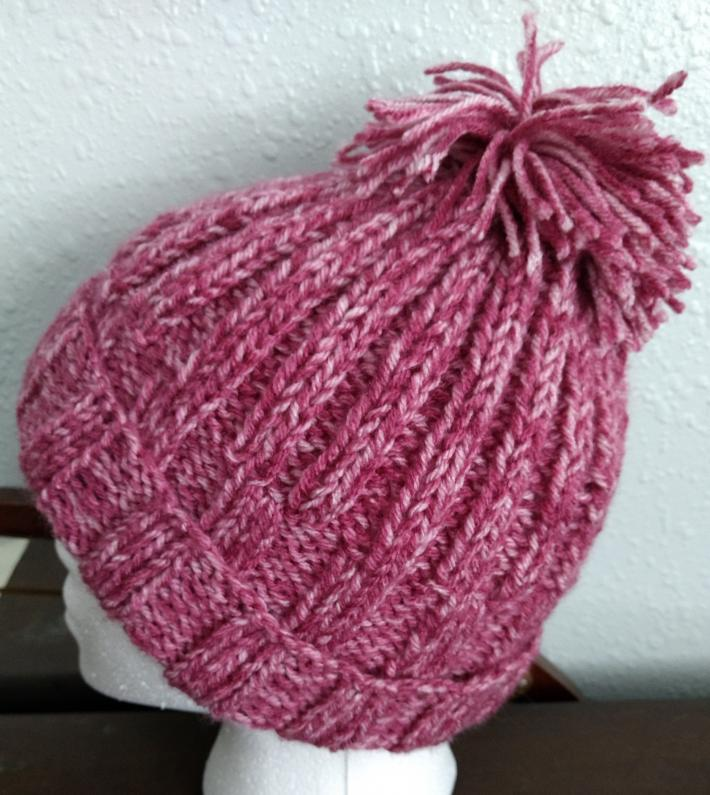 Womens Pink Knitted Hat