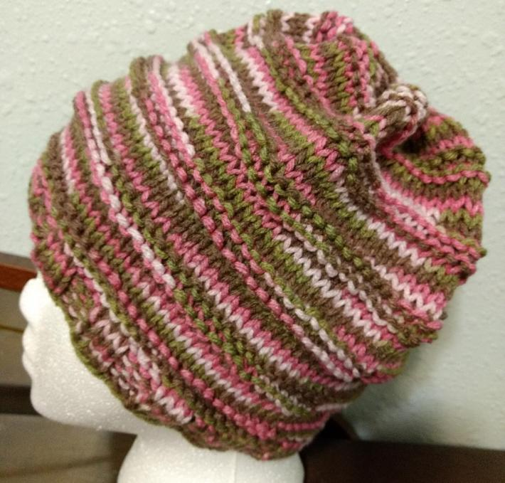 Womens Knitted Pink Camo Hat
