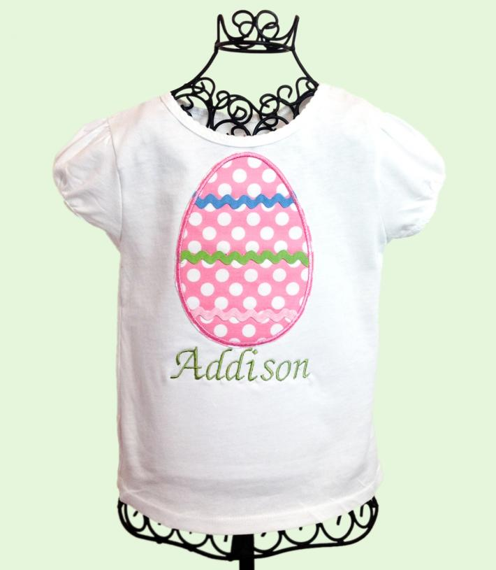 Pink Egg Applique Girls Easter Shirt