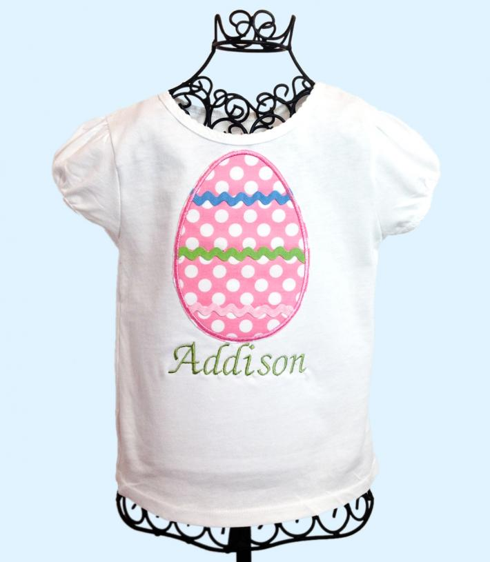 Pink Egg Applique Girls Easter Shirt