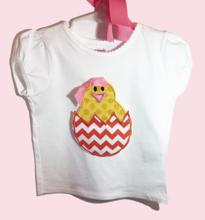 Chick With Bow Applique Girls Easter Shirt