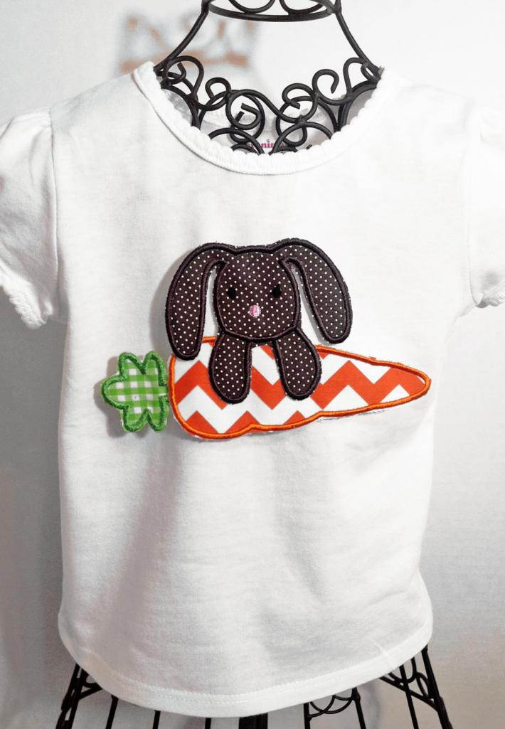 Bunny and Carrot  Applique Personalized Girls Easter Shirt