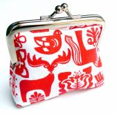 Scandinavian coin purse in red and white animals folk print