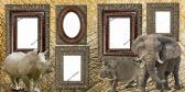 TWO 12X12 PREMADE ZOO SCRAPBOOK PAGES WITH HIPPO RHINO ELEPHANT