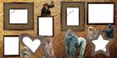 TWO PREMADE SCRAPBOOK PAGES WITH ZOO ANIMALS APES AND CHIMPS