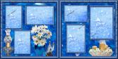 TWO PREMADE SCRAPBOOK PAGES WITH VINTAGE CHARM OF DAISIES AND BLUES