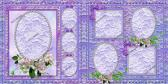 TWO 12X12 PREMADE SCRAPBOOK PAGES WITH VINTAGE CHARM PURPLES LACE AND DOGWOOD BLOOMS