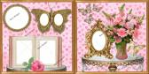 TWO 12X12 PREMADE SCRAPBOOK PAGES PINK FLOWERS HEARTS AND GOLDEN BUTTERFLIES