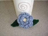 Crochet Blue Flower Hair Barrette