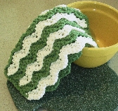 Crocheted Dishcloth or Washcloth in Green and White