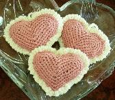 Crochet Heart Sachets Set of 3  12B001