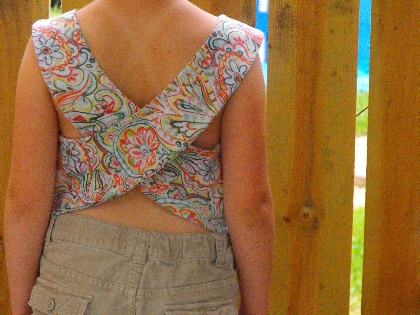 Upcycled Girls crop top with crisscrossed back