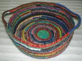 Cat Bed Crazy Quilt Fabric Basket