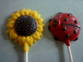 Ladybug and Sunflower Summer Chocolate Lollipop Party Favors Order of 12