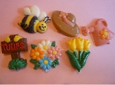 Summer Garden Chocolate Candy Order of 6 with Bee Watering Can Tulip Sign and Hat