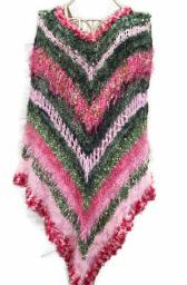 Womens Hand Knit Poncho Pinks and Greens