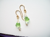 Green and White Earrings