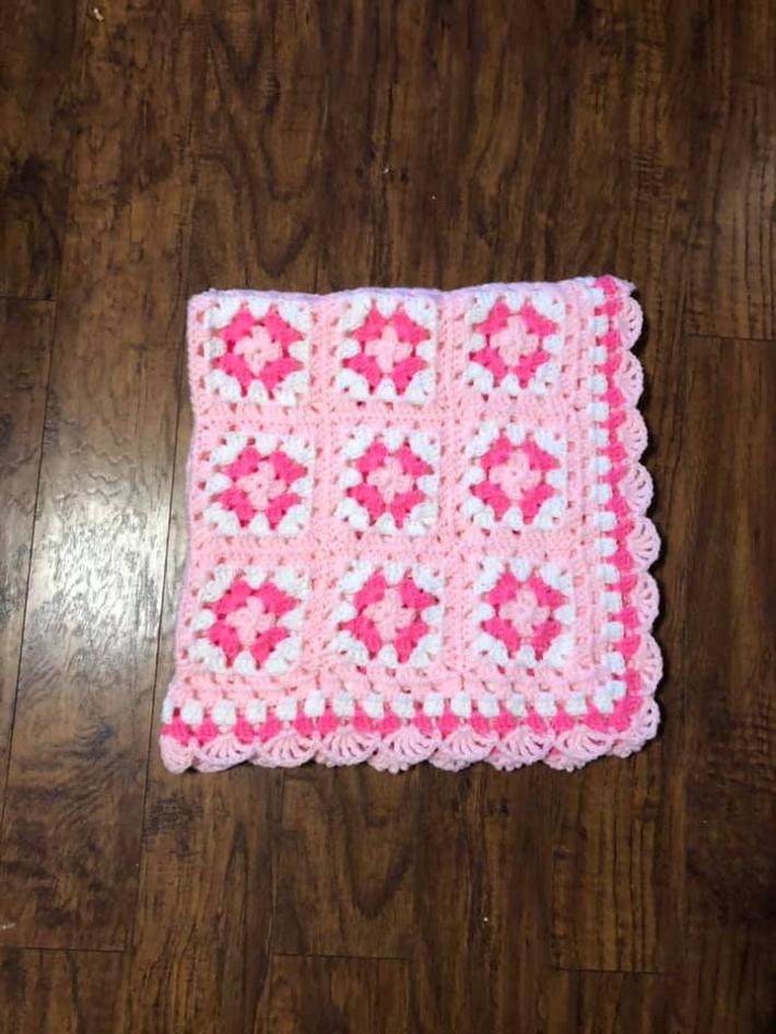 Baby Toddler Girls Granny Square Blanket