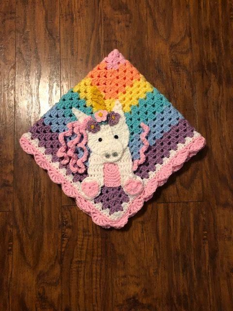 Wild Boho Unicorn Granny square Crochet Blanket