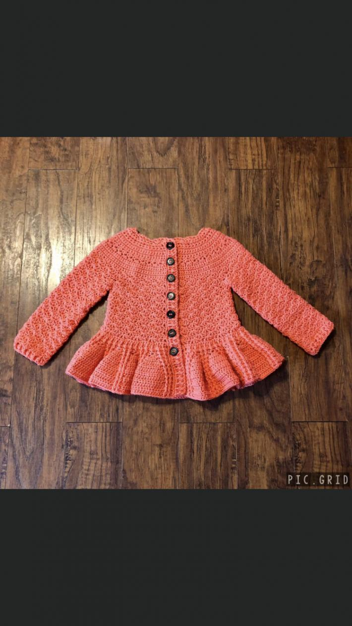 Girls Crochet Peplum Cardigan Coral Pink