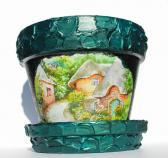 Painted ceramic pot