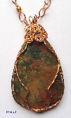 Greens Red and Brown Jasper Pendant Wrewrapped in Copper on a HandCrafted