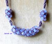 Netted Violet Opal Crystals on 4 Strand Lavender Beads